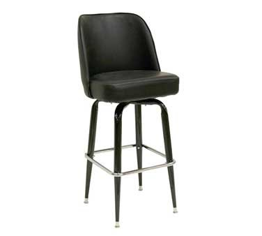 Oak Street Manufacturing SL3133-BLK Black Bucket Frame Barstool with American Made Black Vinyl Bucket Seat, 19