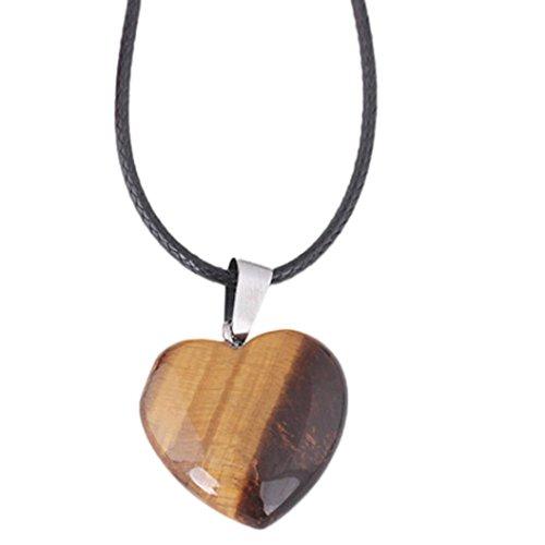 Crystal Necklace, Kimloog Women's Natural Agate Stone Heart Pattern Quartz Pendant (Yellow)