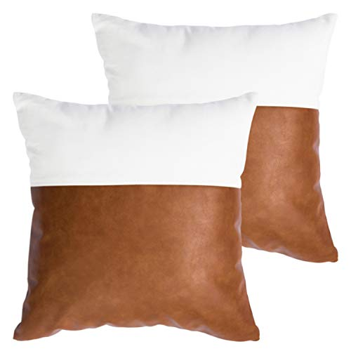 HOMFINER Faux Leather and 100% Cotton Throw Pillow Covers for Couch, Modern Design Decorative Bed, Sofa or Bedroom Pillows Case 18 x 18 inch Set of 2