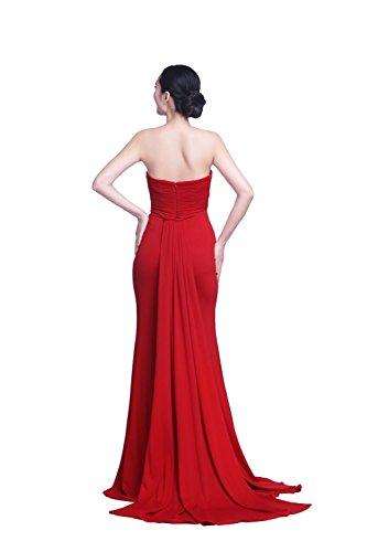 YiYaDawn Langes Elegantes Meerjungfrau Abendkleid Hochzeitskleid mit Schleppe für Damen Rot PUmVTpVbpR