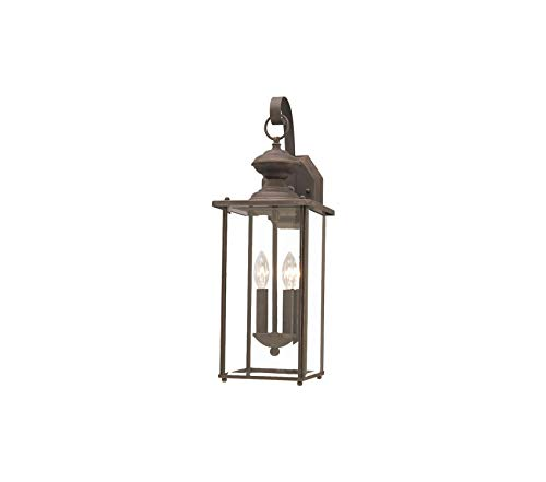 Sеа Gull Lighting Premium Jamestowne Two-Light Outdoor Wall Lantern with Clear Beveled Glass Panels, Antique Bronze -
