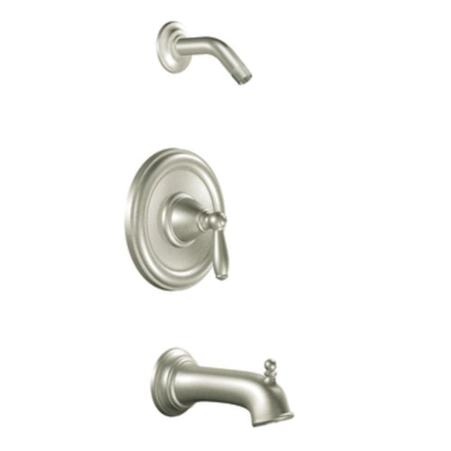 Moen T2153NHBN Brantford PosiTemp Tub and Shower Trim Kit without Valve or Showerhead, Brushed Nickel (Spout Moen Escutcheon)