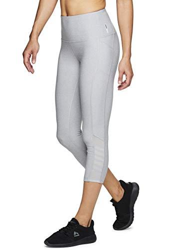 RBX Active Women's Mesh Pocket Running Yoga Capri Leggings 19 Grey XL