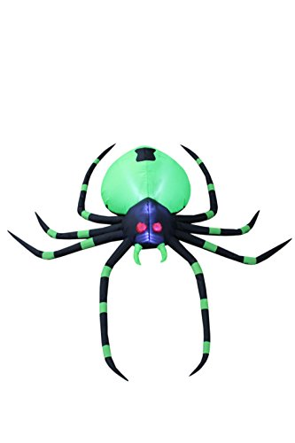 BZB Goods 6 Foot Long Halloween Inflatable Black Green Spider LED Lights Decor Outdoor Indoor Holiday Decorations, Blow up Lighted Yard Decor, Giant Lawn Inflatables Home Family Outside