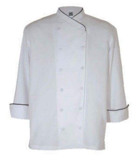 Chef Revival LJ008GN Chef-tex Poly Cotton Ladies Corporate Jacket with Green Piping and Cloth Covered Button, Small, White by Chef Revival