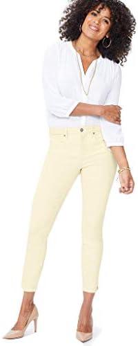 NYDJ Ami Skinny Ankle Jeans with Side Slit Marigold 12