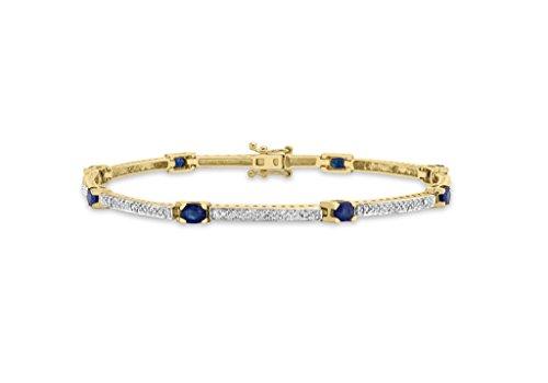 """Jewellery World Bague en or jaune 9carats Diamant et Saphir Bar Bracelet Lien 18cm/7"""""""