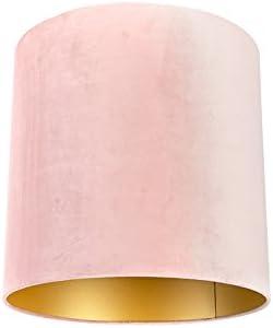 QAZQA Algodón Pantalla terciopelo rosa 40/40/40 interior dorado, Redonda/ Cilíndrica Pantalla lámpara colgante,Pantalla lámpara de pie: Amazon.es: Iluminación