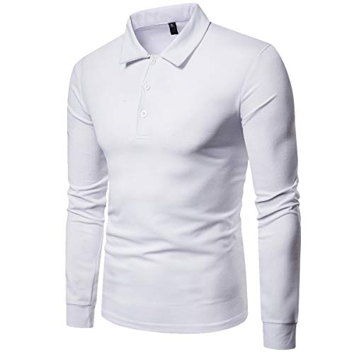 (Cottory Men's Rib Cuff Long Sleeve Polo Sport Shirt White X-Small)