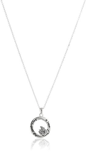 """Disney Sterling Silver Circle with Dumbo Don't Just Fly Soar Pendant Necklace, 18"""""""