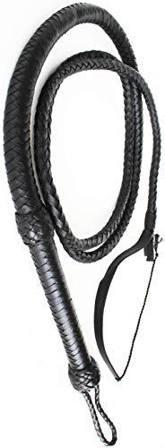 Challenger Tack 8' Hand Braided Black Leather Flexible Indiana Jones Stuntman Bull Whip 70005