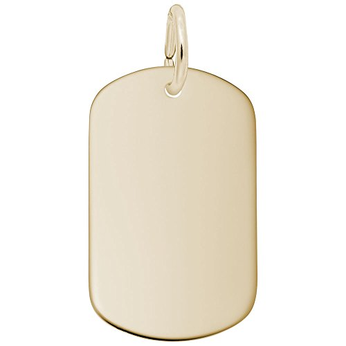 Rembrandt Charms, Dog Tag, 10k Yellow Gold, Engravable