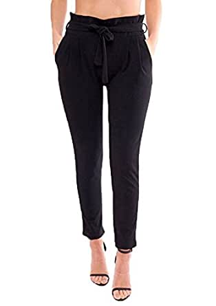 YiyiLai Women Ruffle Trim Leisure Slim Belted Pencil Pant Long Trousers Black L
