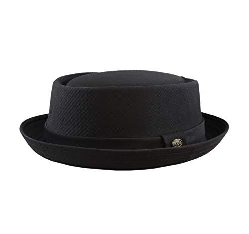 The Hat Depot 1400f2091 100% Cotton Paisley Lining Premium Quality Porkpie Hat (L/XL, Black)