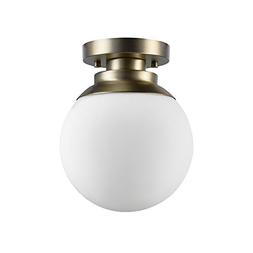 Globe Electric 65792 Portland 1 Semi-Flush Mount Ceiling Light, Brass Finish, Matte Opal White Glass Shade, 0, Matte White (Opal Glass Flush)