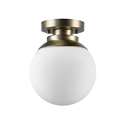Globe Electric 65792 Portland 1 Ceiling Light, Brass Finish, Matte Opal Glass Shade, Semi-Flush Mount, ()