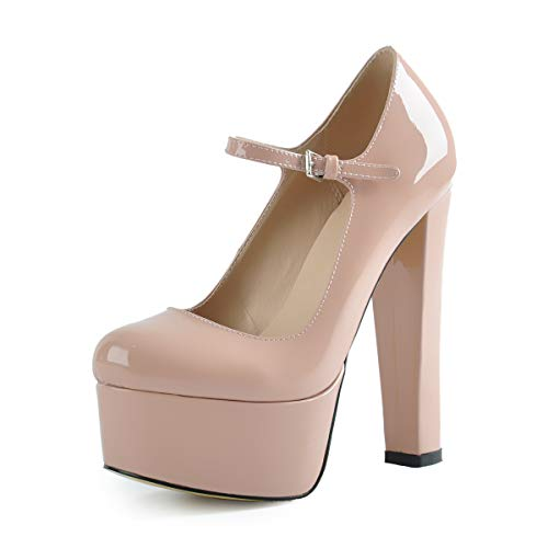 onlymaker Women Sexy Pointed Toe Platform High Block Heel Mary-Jane Pumps Party Wedding Dress Shoes Beige Size -