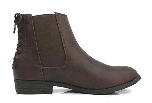City Classified Women's Ankle Chelsie Bootie Faux Leather Round Toe Flat Block Heel, Tan, - Brown Chelsie