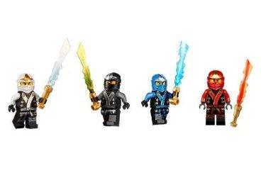 Red Ninjago Lego Ninja (LEGO Ninjago Final Battle Kimono Ninja's set of 4 - Cole, Jay, Kai, Zane minifigures (Each with Elemental)