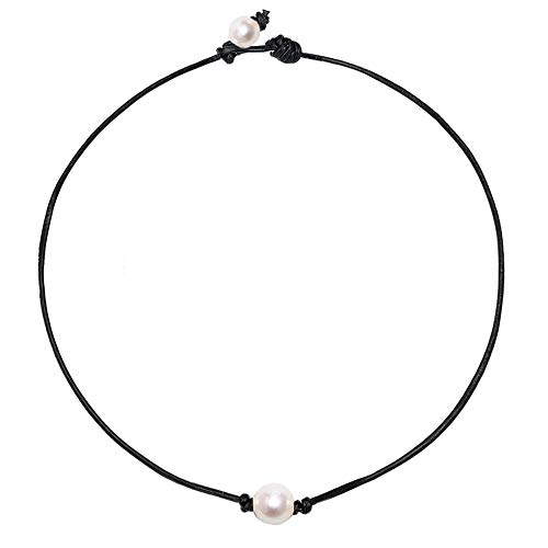 - FUTTMI Three White Pearl Choker Necklace with Single Beads Freshwater Pearls Choker Necklace on Genuine Leather Cord Knotted Jewelry for Women Girls