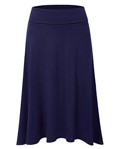 JJ Perfection Women's High Waist Elastic Flared Midi Skirt Navy ()