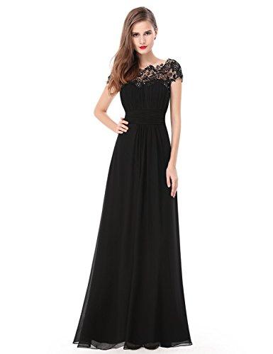 formal black dress with cap sleeves - 4