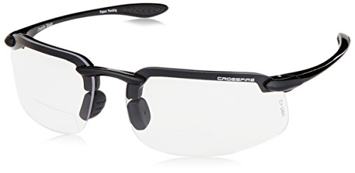 Crossfire Eyewear 216425 2.5 Diopter ES4 Safety Glasses with Gray Frame and Clear - For Eyewear Faces Small