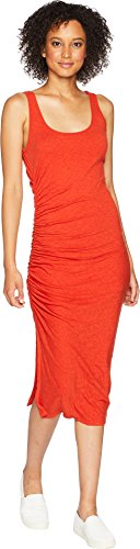 Dress Knit Shirred (Three Dots Women's eco Knit Tight midi Shirred Dress, red Clay, Small)