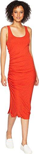 Knit Dress Shirred (Three Dots Women's Eco Knit Tight Midi Shirred Dress, Red Clay, Small)