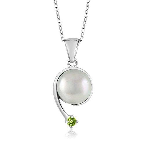 Green Peridot Cultured Freshwater Pearl 925 Sterling Silver Shooting Star Pendant (Peridot Star Pendant)