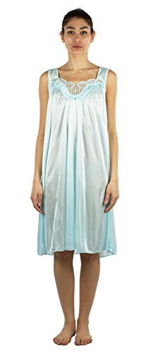 JOTW Silky Lace Accent Sheer Nightgowns - Medium to 4X Available (9006) (Light Green, 2XL)