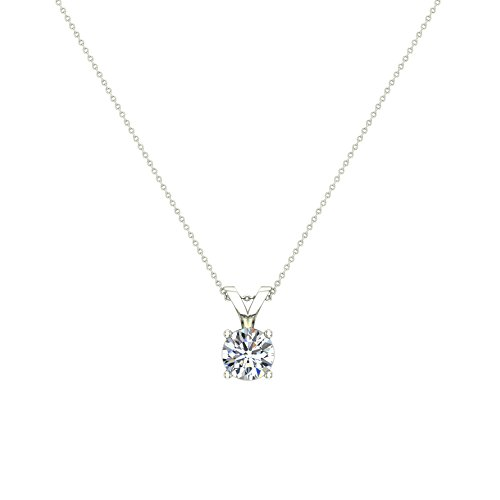 3/4 ct tw I1 G Natural Round Brilliant Diamond Solitaire Pendant Necklace 14K White Gold