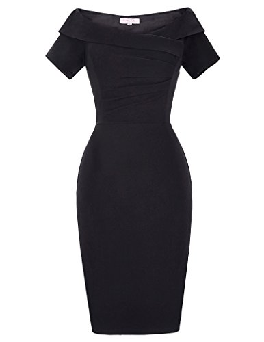 Belle Poque Women's Black Ruched Bodice Off-The-Shoulder Bodycon Dress Size 4 BP158-1