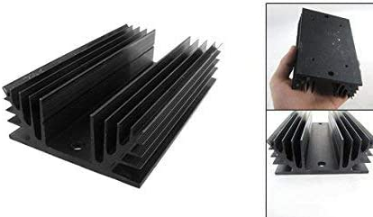 5.9 x 3.5 x 1.4 inch Aluminum Heat Sink Heatsink Transfers for 3 Phase SSR Solid State Relay Black with Screws