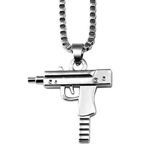 - FENDINA Unisex Mens Hip Hop Rapper Necklace 14K Gold Plated Iced Out Uzi Pistol Machine Gun 316L Stainless Steel Pendant Necklace