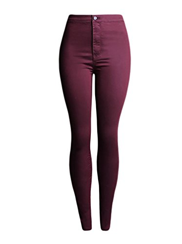 Pants High Tights Femmes Elastic Jeans Baymate Rouge Denim Waist Vin qEO4WHtW