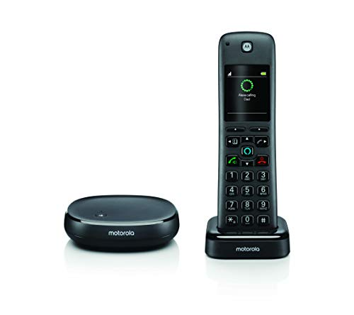 Motorola Telephone - Motorola AXH01 Cordless Phone with Alexa Built-in and Call Block for Landline Calls, Alexa Calling and Skype Calls and Voice Control of All Alexa Enabled Smart Home Accessories - 1 Cordless Handset