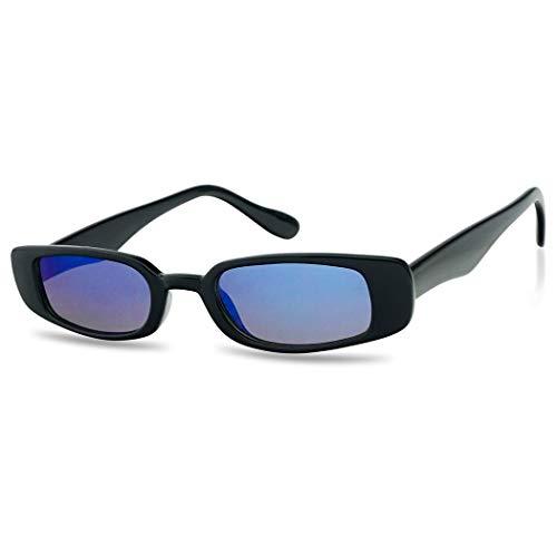 Small Narrow Retro Thin Rectangular Mirrored Lens 90's Vintage Sun Glasses (Black Frame | Blue, ()