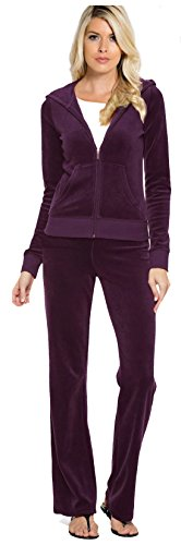 Tabeez Women's Premium Velour 2 Piece Tracksuit Matching Sweatsuit Jogging Set Purple Extra Small/Small (Jogging Suit Velour)