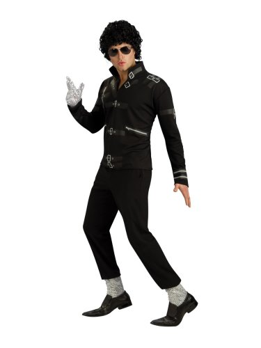 Michael Jackson Adult Costume Black Bad Jacket w Printed Buckles - Medium