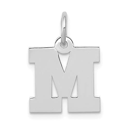 Jewelry Pendants & Charms Themed Charms 14k White Gold Small Block Initial M Charm