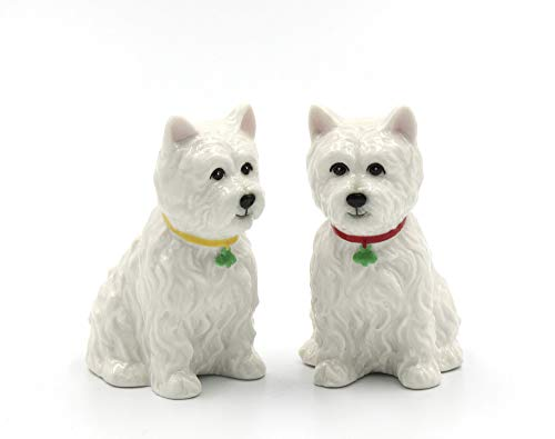 Fine Ceramic West Highland White Terrier Western Terrier Westie Dog Salt and Pepper Shakers Set, 2-7/8