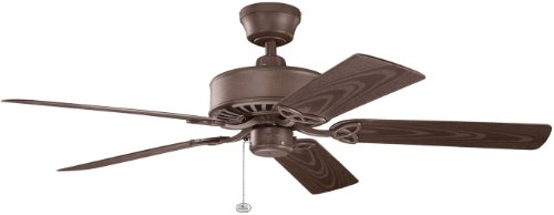 Kichler 339515TZP Renew Patio 52IN Wet Location Energy Star Ceiling Fan, Tannery Bronze Powder Coat Finish with Brown ABS Blades (5 Blade New Bronze Patio)