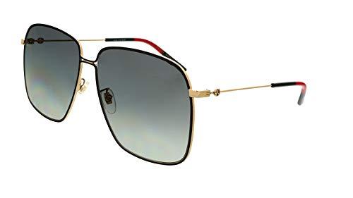 Gucci GG 0394S 001 Black Gold Metal Square Sunglasses Grey Gradient Lens (Gucci Glasses Gg F)