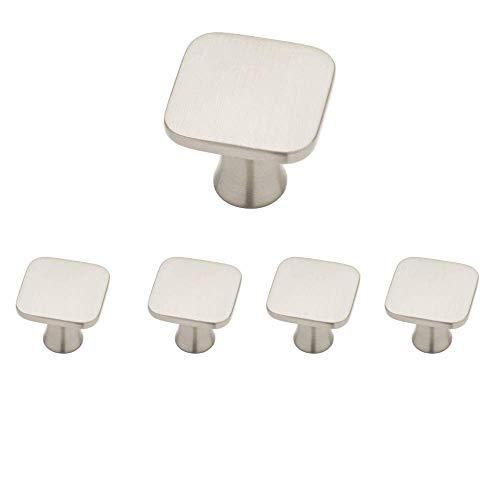 Aviano Satin Nickel Cabinet Hardware Square Knob 1-1/8