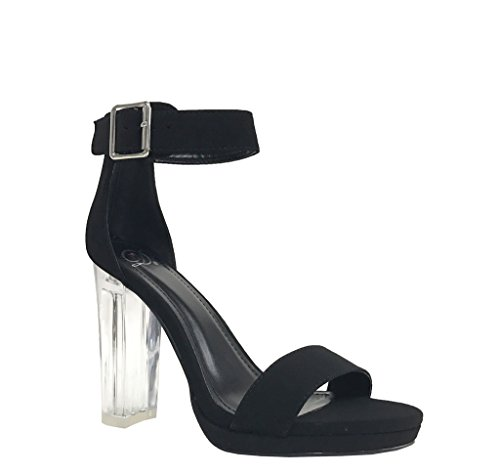 CARGO! Women's Sexy Ankle Strap Clear High Chunky Heel Platform Sandals, Black (Cargo Womens Shoes)