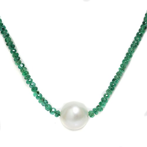 (South Sea Pearl Emerald Solitaire Necklace 11MM AAA 14k Solid White Gold)