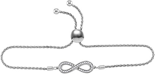 925 Sterling Silver Round Diamond Infinity Bolo Adjustable Bracelet (1/4 Cttw) by Sonia Jewels