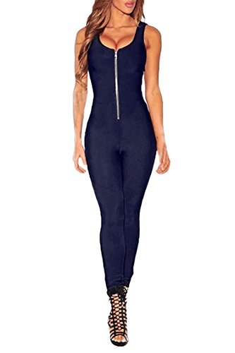 [Rokiney Women Navy Bodycon Sleeveless Zip Front Sports Long Romper Jumpsuits XL] (Stretch Jumpsuit)