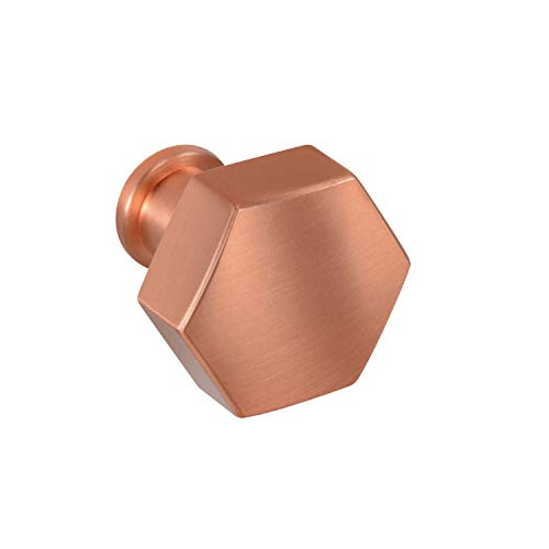 - #2689 CKP Brand 1-1/8 in. (28.5mm) Windsor Collection Hex Knob, Brushed Rose Gold